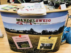 Mandelzweig Infostand von Nahem